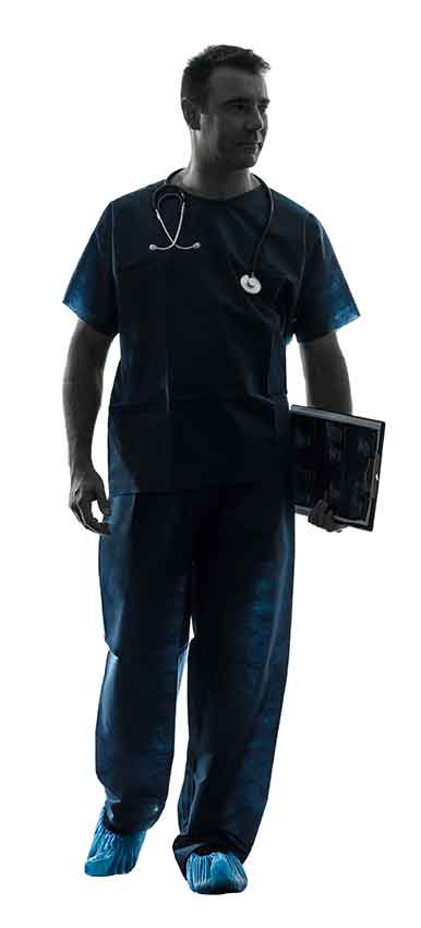 Silhouette of surgeon walking
