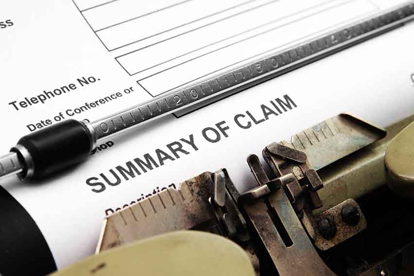 Completing insurance claim form